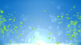 Fresh green leaves falling on blue background. CG leaf confetti. Loop animation. Beautiful leaf. Green leaf falling. Leaf nature pattern on background. Summer vector illustration