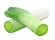 Fresh green leek. S isolated on a white background Royalty Free Stock Photo