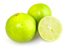 Fresh green lemon cutting group Royalty Free Stock Photography