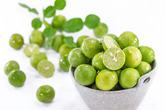 Fresh Green Lemons in The Bowl Royalty Free Stock Image