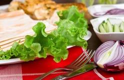 Fresh green lettuce salad closeup Stock Photos