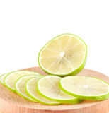 Fresh green lime. Close up. Summer fruits. Food ingredients royalty free stock photography