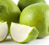 Fresh green lime. Close up. Summer fruits. Food ingredients royalty free stock photo