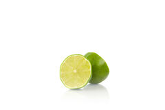 Fresh Green Lime Cut Of Half Stock Photos