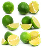 Fresh green lime fruits isolated healthy food stock photo