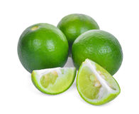 Fresh green lime isolated on white background stock images