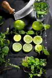 Fresh green lime and mint on black background, top view, square image. stock photo