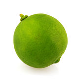 Fresh green lime. Single fresh green lime isolated on white royalty free stock photos