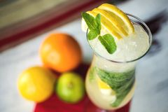 Fresh green lime soft lemonade in a glass on Royalty Free Stock Photography