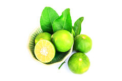 Fresh and Green lime. On white background Stock Photos