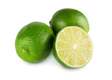 Fresh green limes core closeup isolated on white background Stock Photo