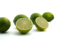 Fresh Green Limes Isolated on White Background Stock Photo