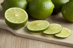 Fresh green limes slices Stock Images
