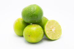 Fresh green limes on white Royalty Free Stock Photos