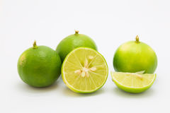 Fresh green limes on white background Royalty Free Stock Image