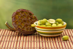 Fresh green lotus seeds (lotus nuts) in ceramic bowl Royalty Free Stock Images