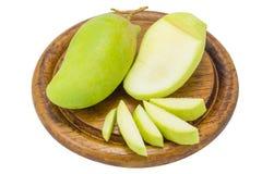 Fresh Green mango isolated on white background Stock Photos