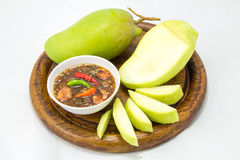 Fresh Green mango isolated on white background Royalty Free Stock Photo