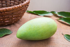 Fresh green mango and leaf Stock Image