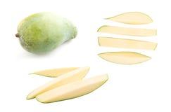 Fresh green mango on white background Royalty Free Stock Photos