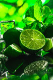 Fresh green mint and lime ice cube close-up on a dark background Stock Image