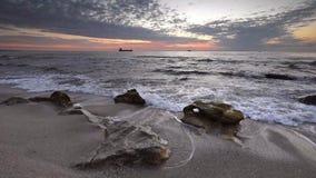 Black sea coast at sunrise stock footage