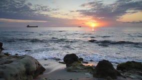 Black sea coast at sunrise stock video