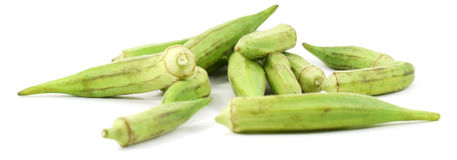 Fresh green okra. Isolated on white background Royalty Free Stock Photos