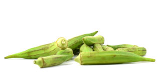 Fresh green okra. Isolated on white background Royalty Free Stock Photography