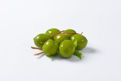 Fresh green olives. On white background Stock Images