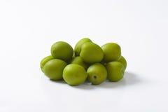Fresh green olives. On white background Royalty Free Stock Image