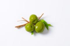 Fresh green olives. On white background Stock Photography