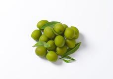 Fresh green olives. On white background Royalty Free Stock Photo