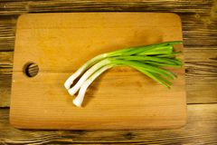 Fresh green onion on cutting board on wooden table Stock Image