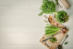Fresh green onion and dill, text space, topview Royalty Free Stock Photo