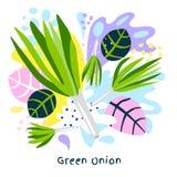 Fresh green onion vegetable juice splash organic food juicy vegetables splatter on abstract background vector. Hand drawn illustrations royalty free illustration