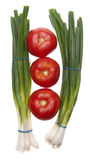 Fresh Green Onions with Tomatoes Royalty Free Stock Images