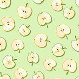 Fresh green organic apples seamless pattern. Vector illustration Stock Photos