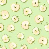 Fresh green organic apples seamless pattern. Vector illustration Royalty Free Stock Photo
