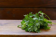 Fresh green parsley. On a wooden table Royalty Free Stock Image