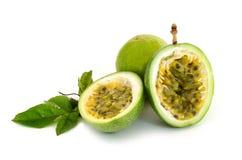 Fresh green passion fruit isolate on white background Stock Photos
