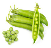 Fresh green pea pod. Isolated on white background stock photography