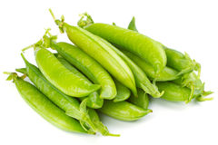 Fresh green pea pod. Isolated on white background royalty free stock images