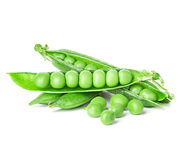 Fresh green pea pod isolated on white Royalty Free Stock Photo