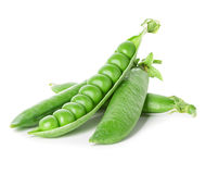 Fresh green pea pod isolated on white Stock Images