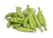 Fresh green pea pod and peas Stock Images