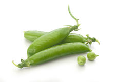 Fresh green pea pods and peas Stock Photography