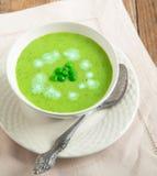 Fresh green pea soup Royalty Free Stock Photo
