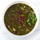 Fresh green pea soup Stock Photos