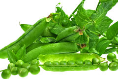 Fresh green peas. On white background, isolated Stock Image
